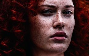 face, portrait, model, girl, freckles, redhead