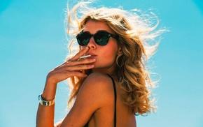 sunglasses, glasses, cigarettes, hair, girl