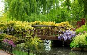 garden, bridge, trees