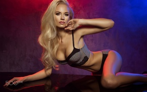 sideboob, arched back, blonde, model, smoky eyes, girl