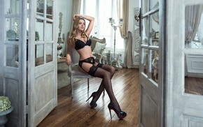 sitting, black panties, glamour, black bras, black stockings, blonde