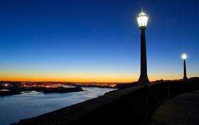 street light, river, street, landscape, sunset, evening