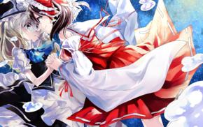 anime, Kirisame Marisa, Hakurei Reimu, Touhou, anime girls
