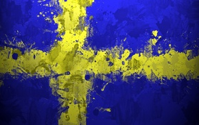 painting, Sweden, yellow, blue, artwork, cross