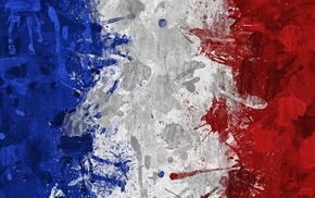 France, flag, artwork, blue, red, painting