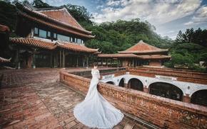 model, girl, Asian, white dress, brides, wedding dress