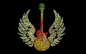 wings, word clouds, typography, guitar