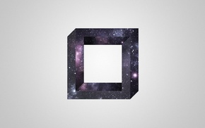 3d object, square, universe, optical illusion, simple background