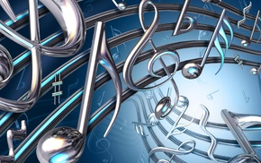 treble clef, 3D, digital art, music, blue, musical notes