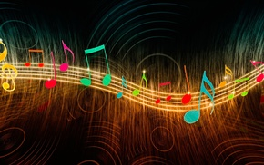 music, colorful, circle, wavy lines, musical notes, glowing