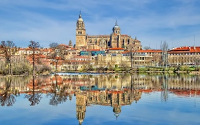 reflection, building, cathedral, Spain, tower, old building