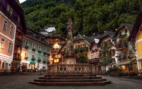 house, Austria, evening, sculpture, lights, architecture