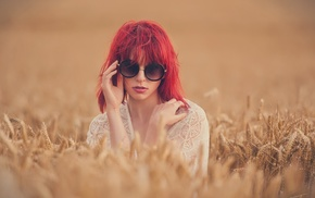 grain, model, face, nature, depth of field, girl outdoors