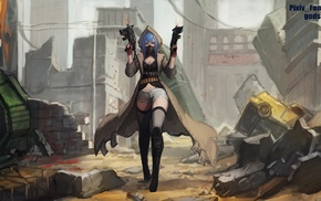 weapon, original characters, hoods, submachine gun, blue hair, Pixiv Fantasia