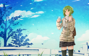 cellphone, Megpoid Gumi, green eyes, thigh, highs, anime girls