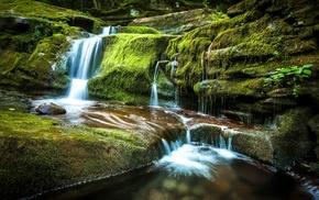 nature, waterfall, water