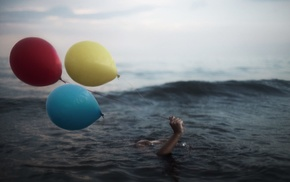sea, balloon, water, hands