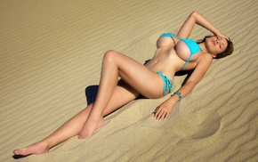 big boobs, Jordan Carver, model, girl, sand, belly