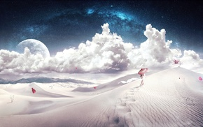 science fiction, sky, desert, Japanese umbrella, artwork, fantasy art