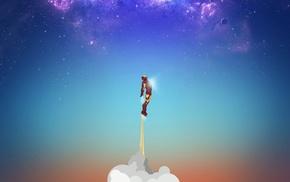 artwork, movies, hero, sky, flying, Iron Man