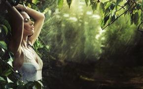 girl, model, nipples through clothing, arms up, rain