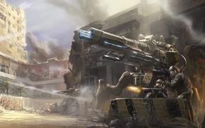 futuristic, soldier, artwork, battle