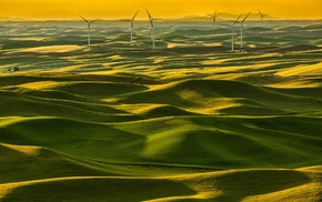 landscape, wind turbine, field, nature, Italy
