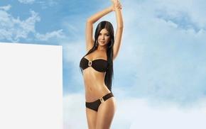 clouds, Davalos sisters, natural boobs, brunette, model, Mariana Davalos