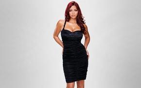natural boobs, big boobs, black dress, redhead, Brenda Lynn, simple background