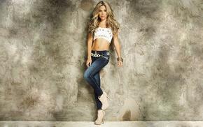 blonde, model, booties, wall, Daniela Tamayo, jeans