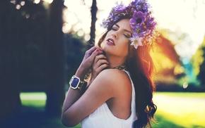 depth of field, Aurela Skandaj, girl, lens flare, portrait, red lipstick