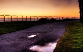 sunset, sea, photography, road, nature, landscape