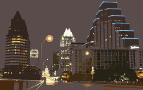 Austin Texas, night, drawing, street, city, lights