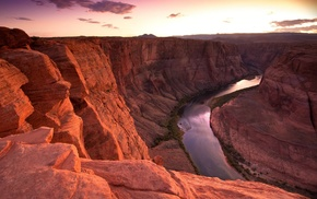 sunset, canyon, river, rock, nature, photography