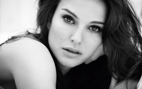 eyes, Natalie Portman, monochrome, looking at viewer, girl, long hair