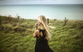 girl, blonde, sea, girl outdoors, straight hair, black dress