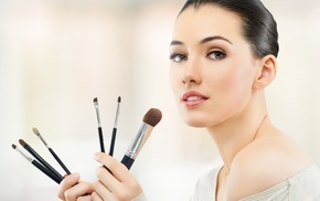 simple background, model, bare shoulders, white tops, open mouth, makeup brush