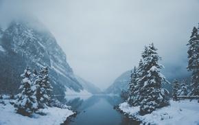 river, snow, mountains