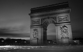 car, monochrome, city, street light, Paris, Arc de Triomphe