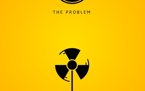 wind turbine, digital art, portrait display, radioactive, minimalism, yellow background