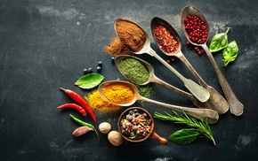 leaves, spices, food, spoons, Pepper