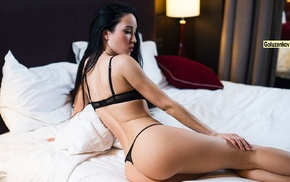 looking away, ass, Andrew Goluzenkov, black lingerie, in bed, model