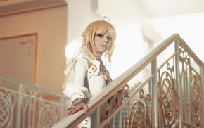 Saber Bride, suits, stairs, Disharmonica, long hair, leather clothing