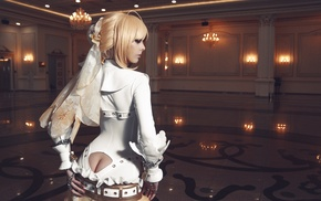 leather boots, Saber Bride, suits, cleavage, Disharmonica, long hair