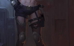 gun, girl, lingerie, weapon, anime, legs