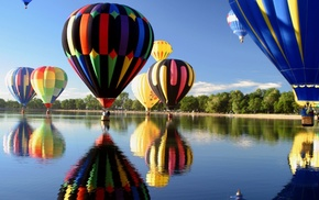 balloon, hot air balloons, lake, reflection