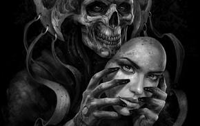 death, skull, face mask, mask, fantasy art, drawing