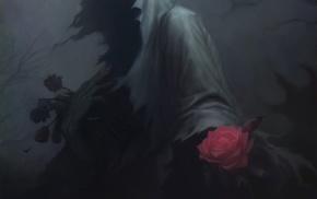 drawing, fantasy art, rose, skull, dark, death