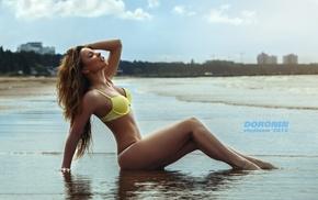 brunette, yellow bikinis, closed eyes, girl, sand, watermarked