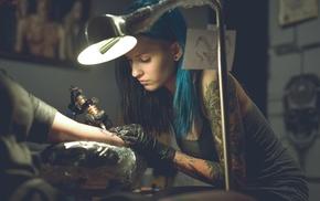 blue hair, tattoo, girl